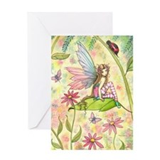 Spring Magic Fairy and Ladybug Greeting Card