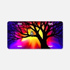 owl in tree Aluminum License Plate