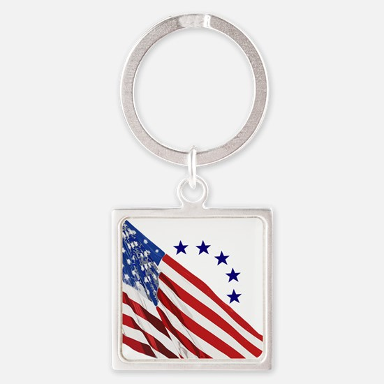 Old Glory Square Keychain
