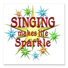 "Singing Sparkles Square Car Magnet 3"" x 3"""