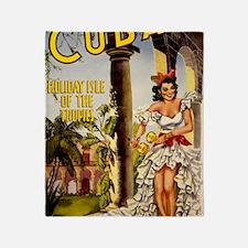 Vintage Cuba Tropics Travel Throw Blanket