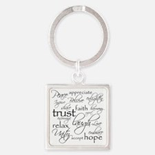 Positive Words - BL Square Keychain