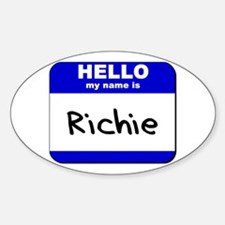 hello my name is richie Oval Decal