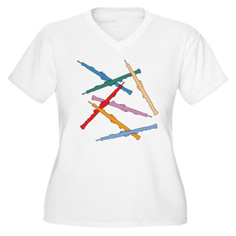 Colorful Oboes Plus Size V-Neck T-Shirt