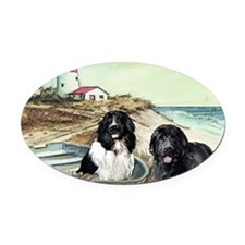 two newfs and boat Oval Car Magnet