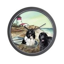 two newfs and boat Wall Clock