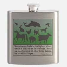 Thomas Edison Quote Flask