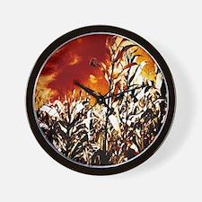 Fire in the corn field Wall Clock