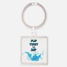 Flip, Twist and Rip Square Keychain