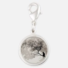 000CatMoon tile Silver Round Charm