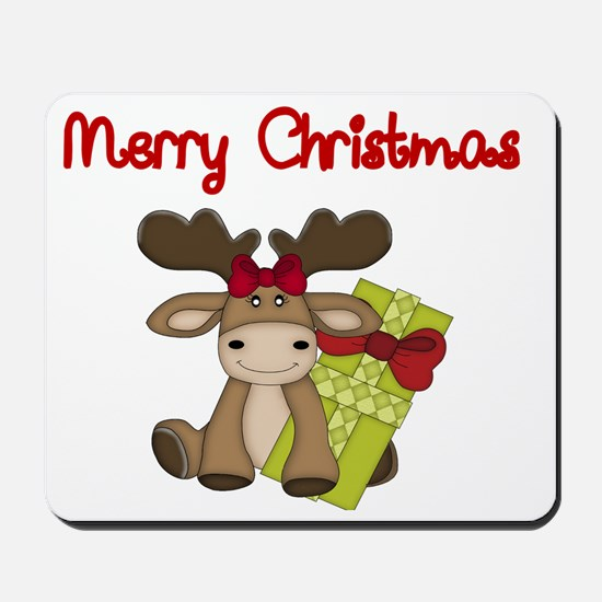 Merry Christmas with moose Mousepad