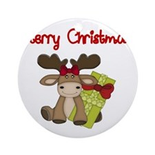 Merry Christmas with moose Round Ornament