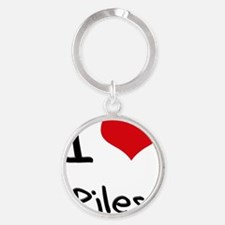 I Love Piles Round Keychain