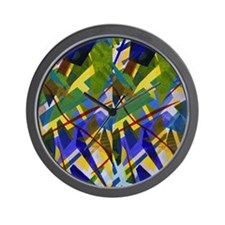 The City I, Green, Blue, Yellow Glow Wall Clock