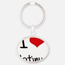 I Love Platinum Oval Keychain