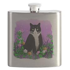 Tuxedo Cat on Lavender Flask