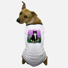 Tuxedo Cat on Lavender Dog T-Shirt