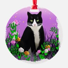 Tuxedo Cat on Lavender Ornament
