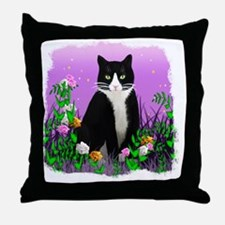 Tuxedo Cat on Lavender Throw Pillow