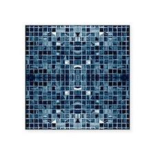 "Blue Mosaic Tile Effect Square Sticker 3"" x 3"""