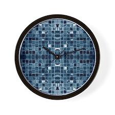 Blue Mosaic Tile Effect Wall Clock