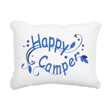 Happy Camper Blue Rectangular Canvas Pillow