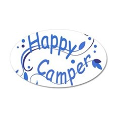 Happy Camper Blue 35x21 Oval Wall Decal