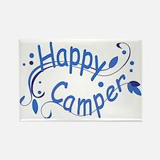 Happy Camper Blue Rectangle Magnet