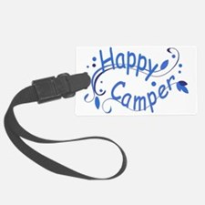 Happy Camper Blue Luggage Tag