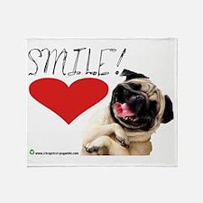 smile pug Throw Blanket