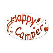 Happy Camper Red Oval Car Magnet