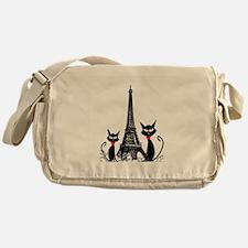 Cats Eiffel Tower Pillow Messenger Bag