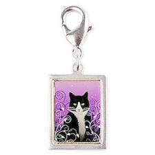 Tuxedo Cat on Lavender Silver Portrait Charm
