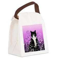 Tuxedo Cat on Lavender Canvas Lunch Bag