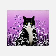 Tuxedo Cat on Lavender Throw Blanket