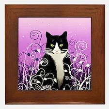 Tuxedo Cat on Lavender Framed Tile