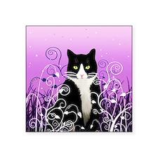 """Tuxedo Cat on Lavender Square Sticker 3"""" x 3"""""""