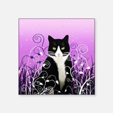 "Tuxedo Cat on Lavender Square Sticker 3"" x 3"""
