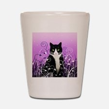 Tuxedo Cat on Lavender Shot Glass