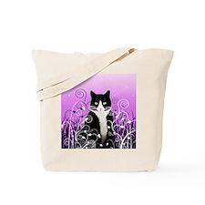Tuxedo Cat on Lavender Tote Bag