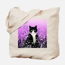Tuxedo Cat on Lavender Tote Bag