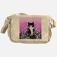 Tuxedo Cat on Lavender Messenger Bag