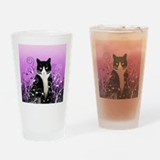 Tuxedo Cat on Lavender Drinking Glass