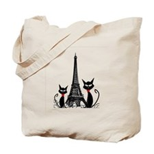 Cats Eiffel Tower Pillow Tote Bag