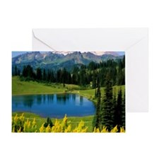 Snow Covered Alpine Peaks and Lake i Greeting Card