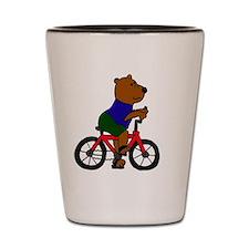 Bear Riding Bicycle Cartoon Shot Glass