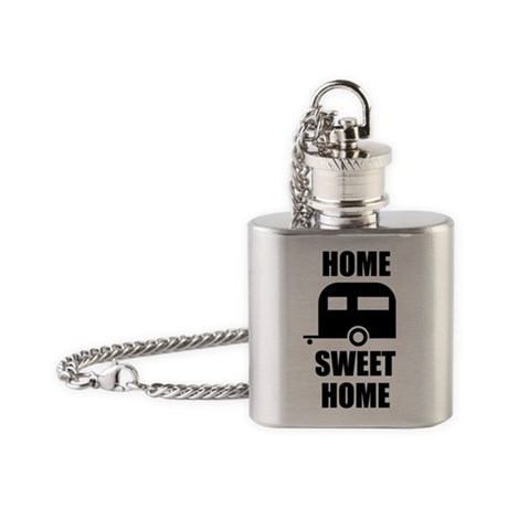 Camping Trailer Home Sweet Home Flask Necklace