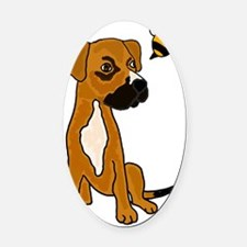 Boxer Mix Puppy Dog and Bee Oval Car Magnet