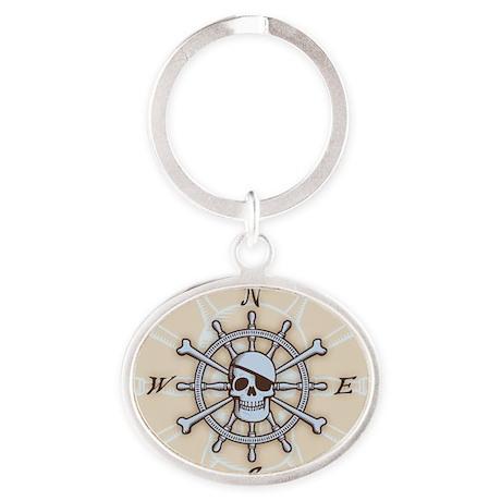 ship-wheel-sk-BUT Oval Keychain