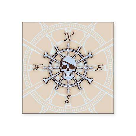 """ship-wheel-sk-BUT Square Sticker 3"""" x 3"""""""